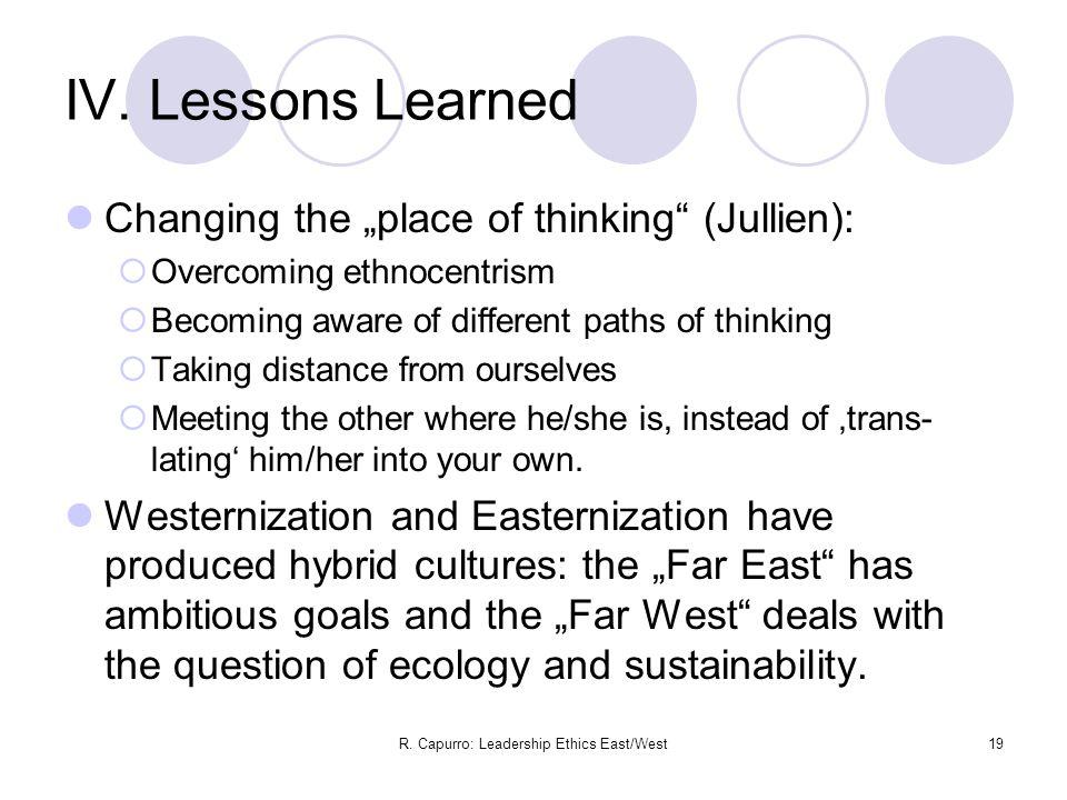 R. Capurro: Leadership Ethics East/West19 IV.