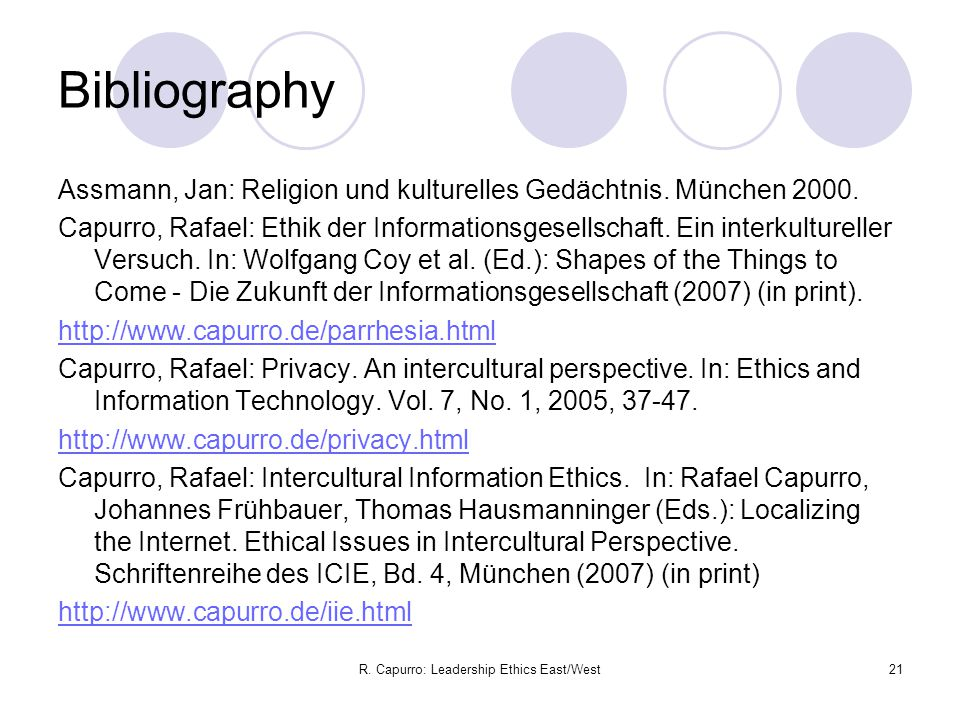 R. Capurro: Leadership Ethics East/West21 Bibliography Assmann, Jan: Religion und kulturelles Gedächtnis. München 2000. Capurro, Rafael: Ethik der Inf
