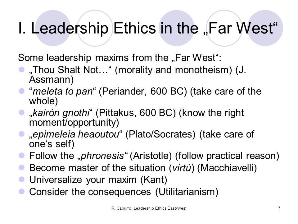 R. Capurro: Leadership Ethics East/West7 I.