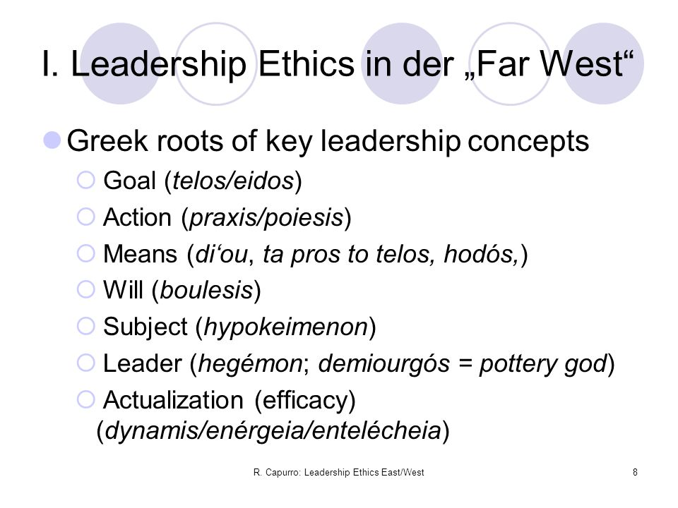 R. Capurro: Leadership Ethics East/West8 I.