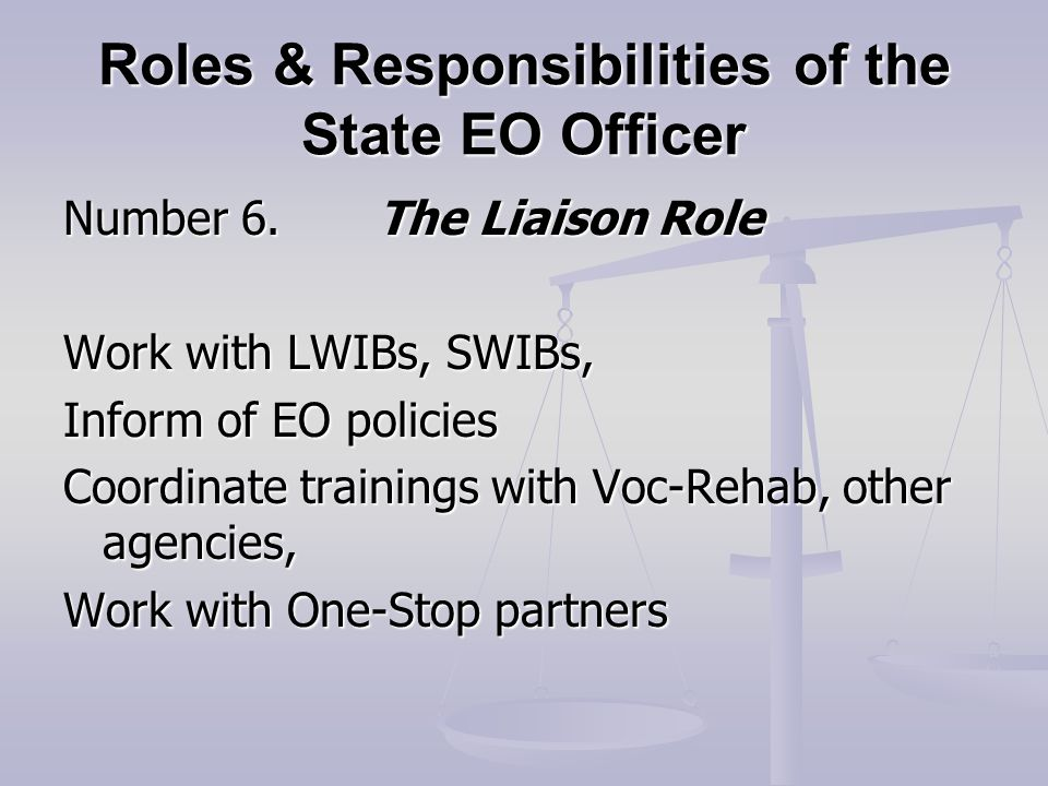 Roles & Responsibilities of the State EO Officer Number 6.The Liaison Role Work with LWIBs, SWIBs, Inform of EO policies Coordinate trainings with Voc