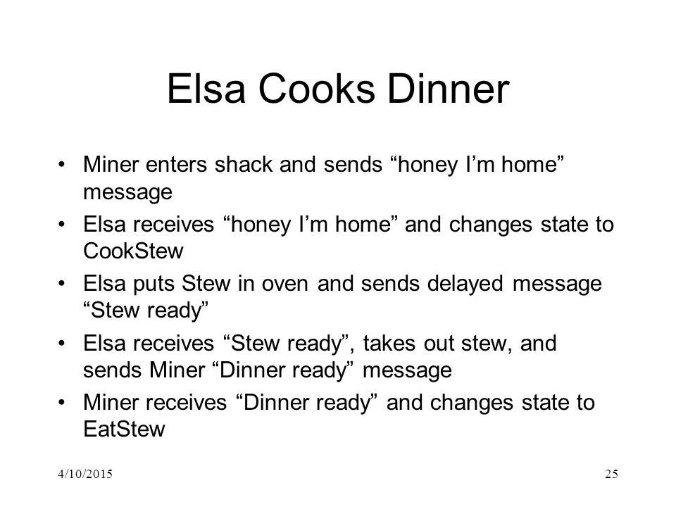"""4/10/201525 Elsa Cooks Dinner Miner enters shack and sends """"honey I'm home"""" message Elsa receives """"honey I'm home"""" and changes state to CookStew Elsa"""
