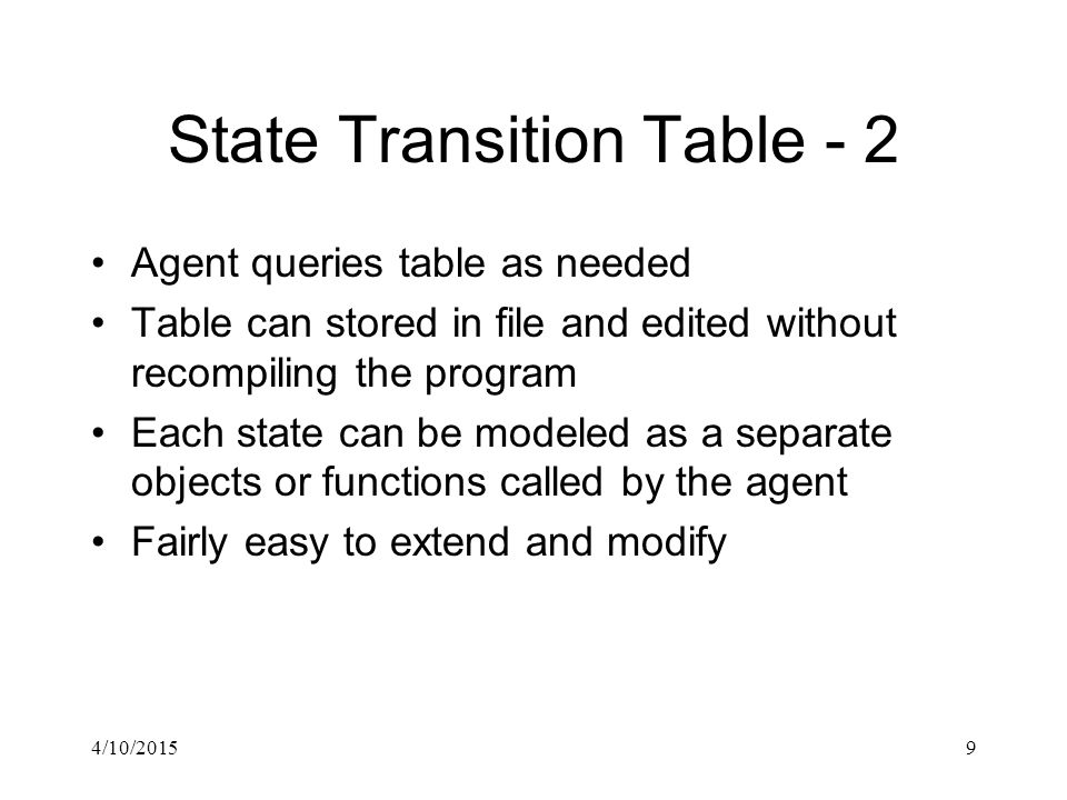 4/10/201510 State Design Pattern - 1 The state transition rules can be embedded in the states themselves All states share a common interface using a pure virtual class class State { public: virtual void Execute(Troll* troll) = 0; }