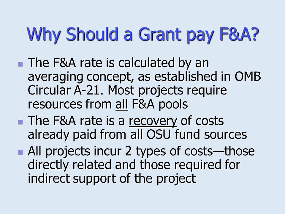 F&A Cost Calculation ( contd.