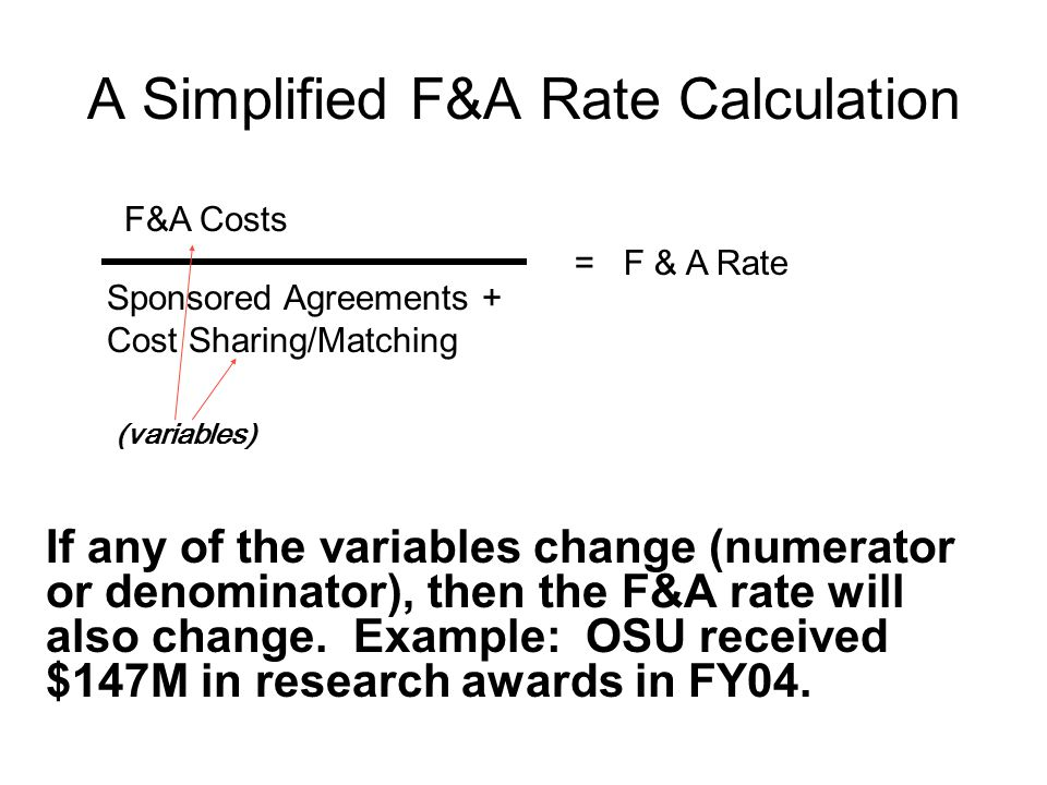 MTDC Base and Allocable F&A Costs for On-Campus Research Rate* 26% Administrative Cap in Place from 1994 to present *Source: OSU F&A Rate Proposals (millions) 8.2 10.7 10.8