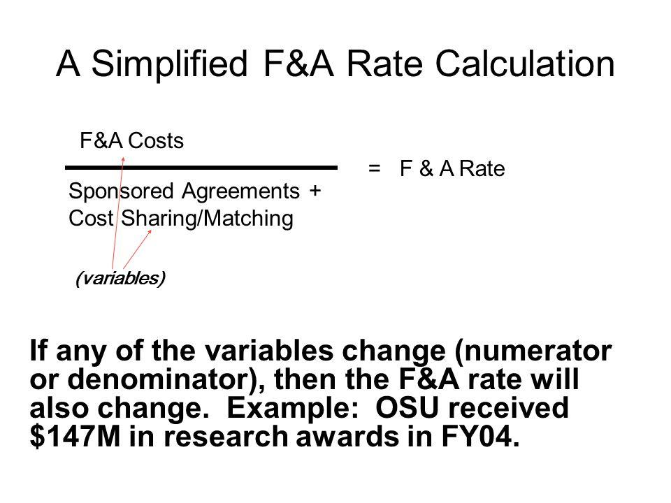 F&A Cost Pools vs.