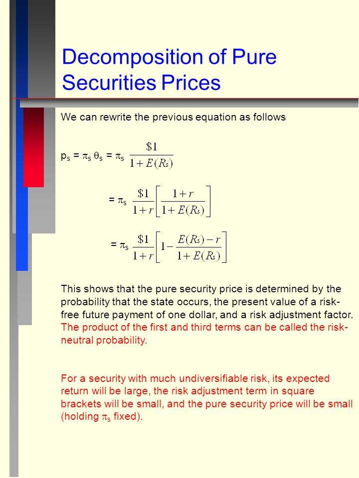 Decomposition of Pure Securities Prices We can rewrite the previous equation as follows p s =  s  s =  s =  s This shows that the pure security pr