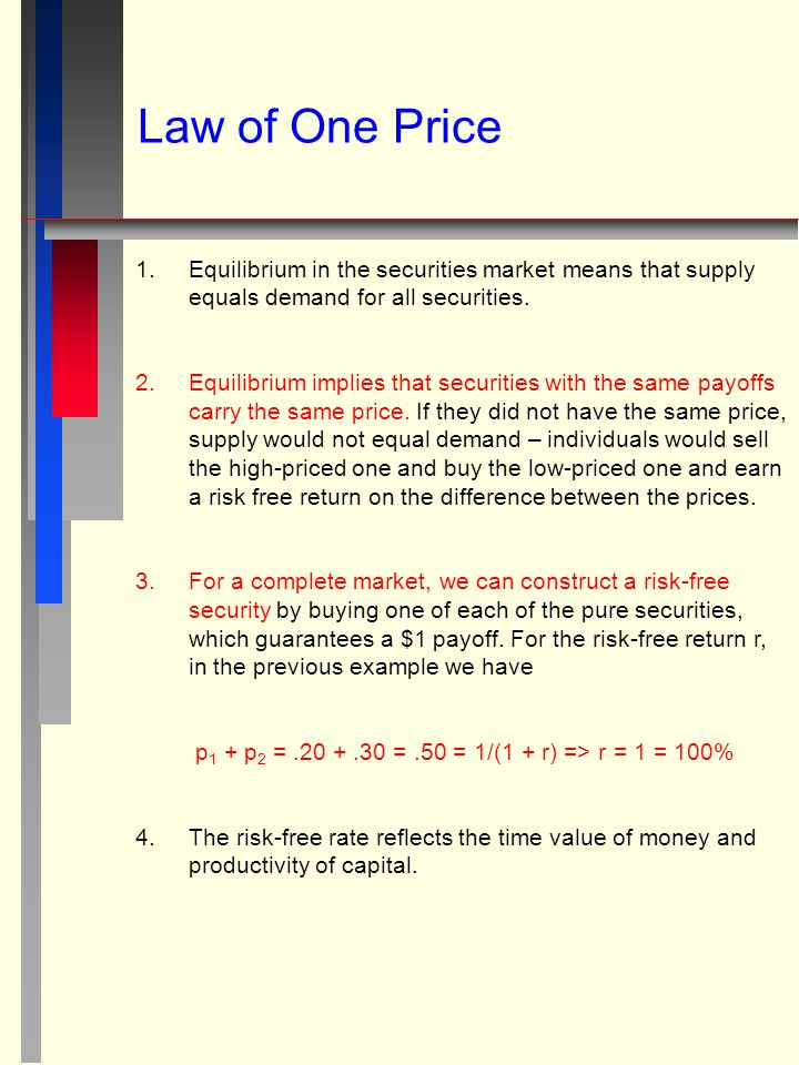 Law of One Price 1. 1.Equilibrium in the securities market means that supply equals demand for all securities. 2. 2.Equilibrium implies that securitie
