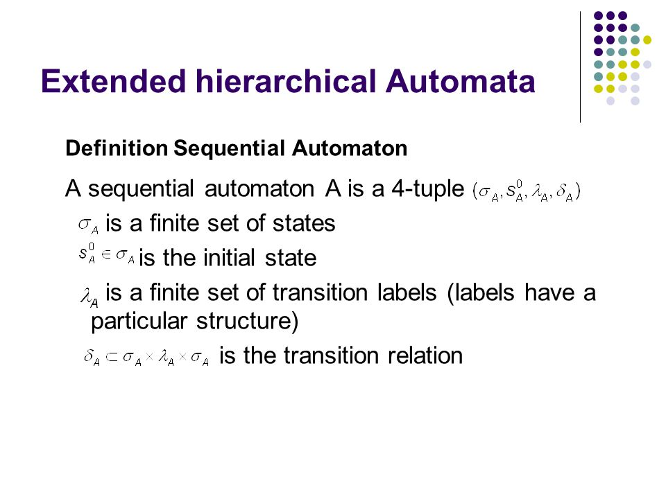 Extended hierarchical Automata Definition Extended hierarchical Automata An EHA consists of a set of sequential automata An EHA is a 5-tuple F is a finite set of sequential automaton E is a finite set of events V is the set of variables ρ is refinement function
