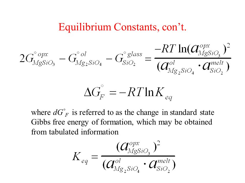 Equilibrium Constants, con't. where dG ° F is referred to as the change in standard state Gibbs free energy of formation, which may be obtained from t