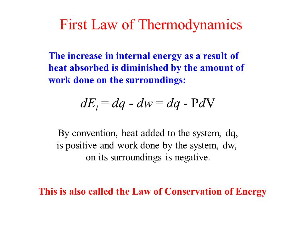 First Law of Thermodynamics The increase in internal energy as a result of heat absorbed is diminished by the amount of work done on the surroundings: dE i = dq - dw = dq - PdV By convention, heat added to the system, dq, is positive and work done by the system, dw, on its surroundings is negative.