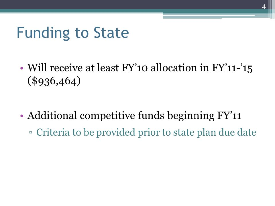 Funding to State Will receive at least FY'10 allocation in FY'11-'15 ($936,464) Additional competitive funds beginning FY'11 ▫Criteria to be provided