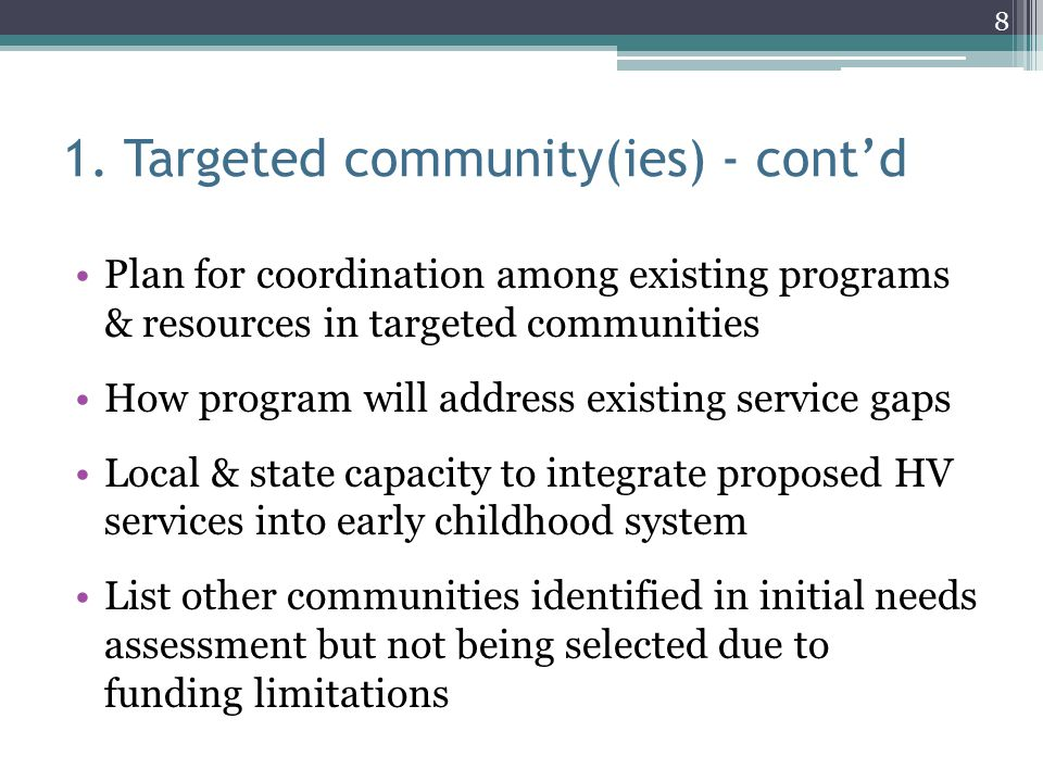 1. Targeted community(ies) - cont'd Plan for coordination among existing programs & resources in targeted communities How program will address existin
