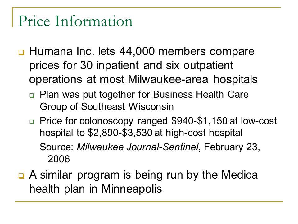 Price Information  Humana Inc.