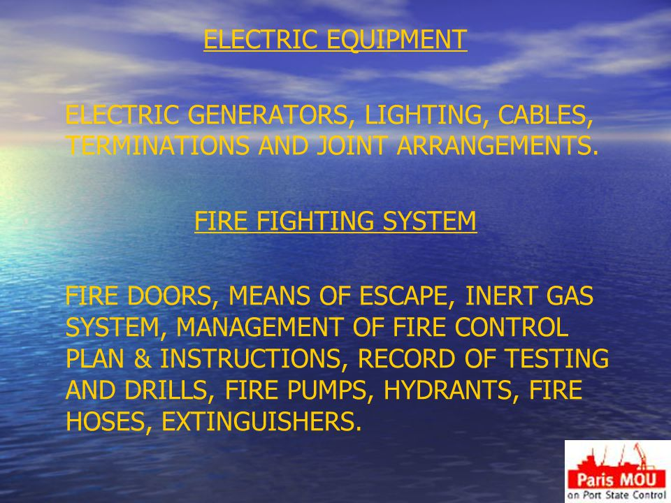 ELECTRIC EQUIPMENT ELECTRIC GENERATORS, LIGHTING, CABLES, TERMINATIONS AND JOINT ARRANGEMENTS.