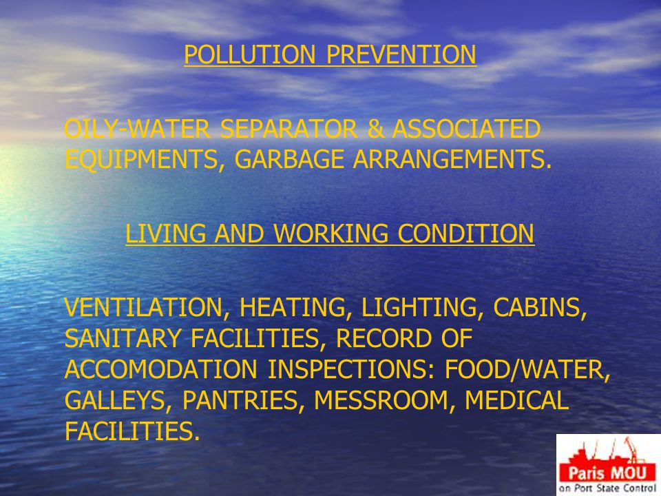 POLLUTION PREVENTION OILY-WATER SEPARATOR & ASSOCIATED EQUIPMENTS, GARBAGE ARRANGEMENTS.
