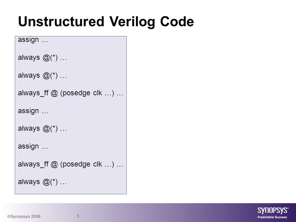 5 Unstructured Verilog Code assign … always @(*) … always_ff @ (posedge clk …) … assign … always @(*) … assign … always_ff @ (posedge clk …) … always