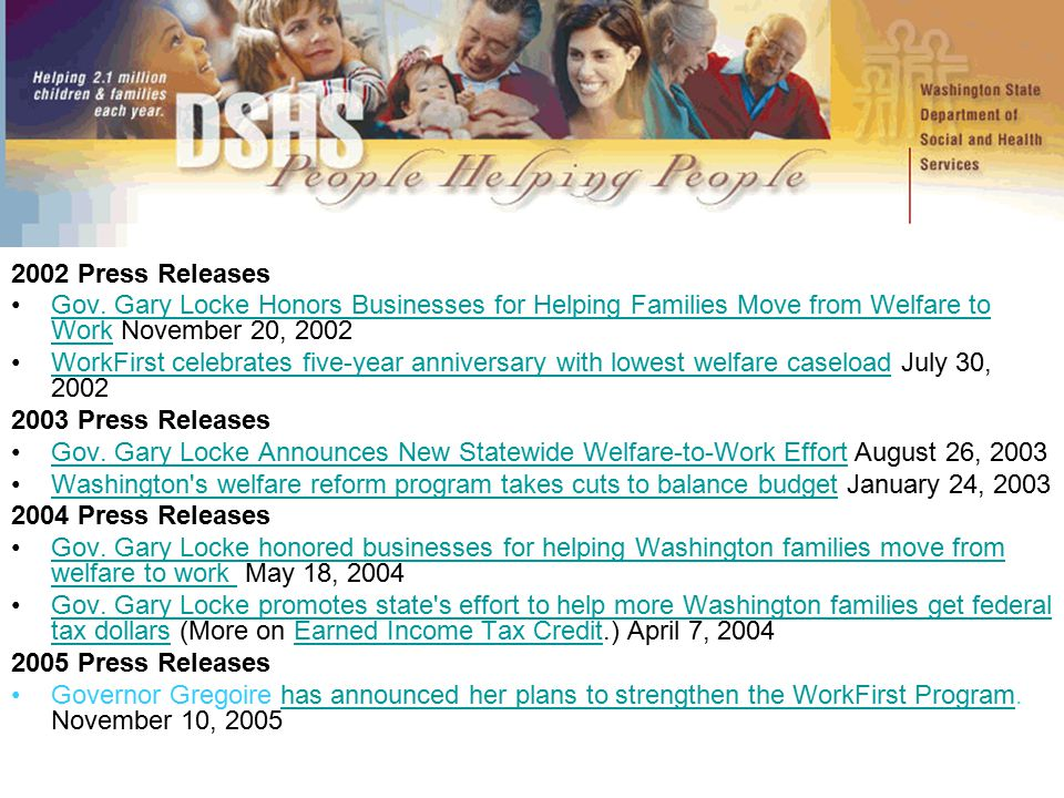 2002 Press Releases Gov. Gary Locke Honors Businesses for Helping Families Move from Welfare to Work November 20, 2002Gov. Gary Locke Honors Businesse