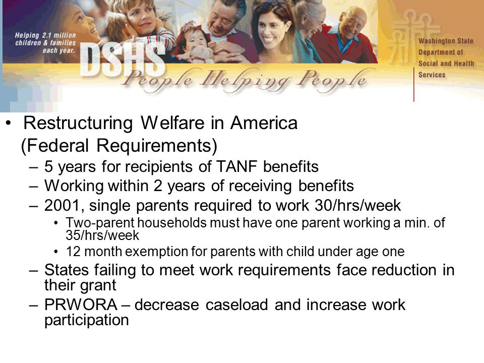 Restructuring Welfare in America (Federal Requirements) –5 years for recipients of TANF benefits –Working within 2 years of receiving benefits –2001,