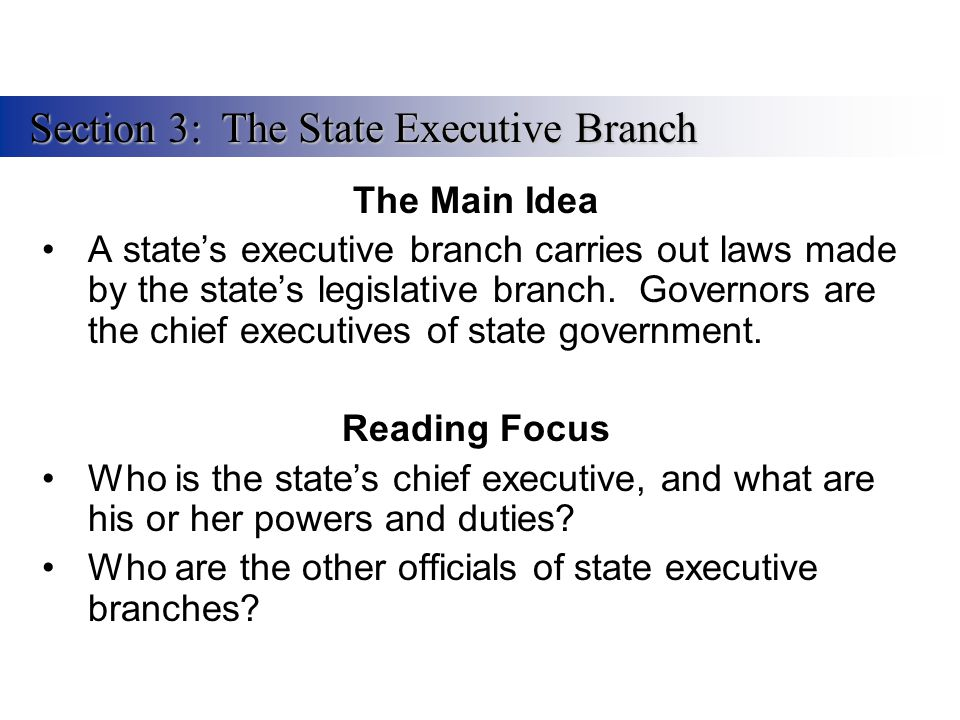 The Main Idea A state's executive branch carries out laws made by the state's legislative branch. Governors are the chief executives of state governme