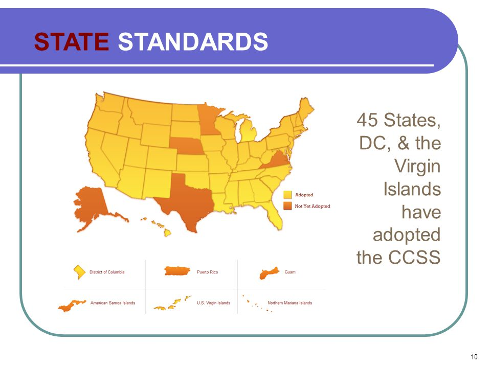 STATE STANDARDS 45 States, DC, & the Virgin Islands have adopted the CCSS 10