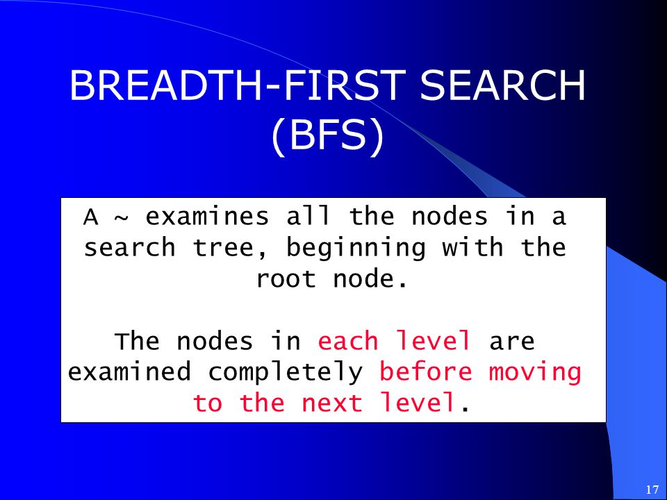17 BREADTH-FIRST SEARCH (BFS) A ~ examines all the nodes in a search tree, beginning with the root node. The nodes in each level are examined complete