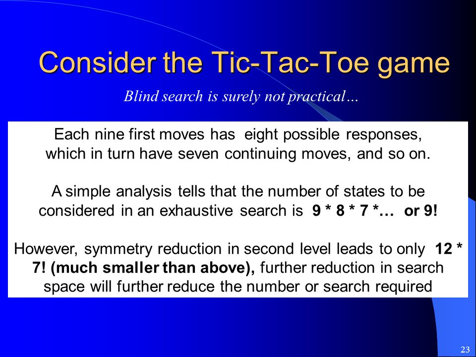 23 Consider the Tic-Tac-Toe game Each nine first moves has eight possible responses, which in turn have seven continuing moves, and so on. A simple an