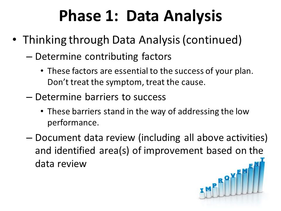 Phase 1: Data Analysis Thinking through Data Analysis (continued) – Determine contributing factors These factors are essential to the success of your plan.