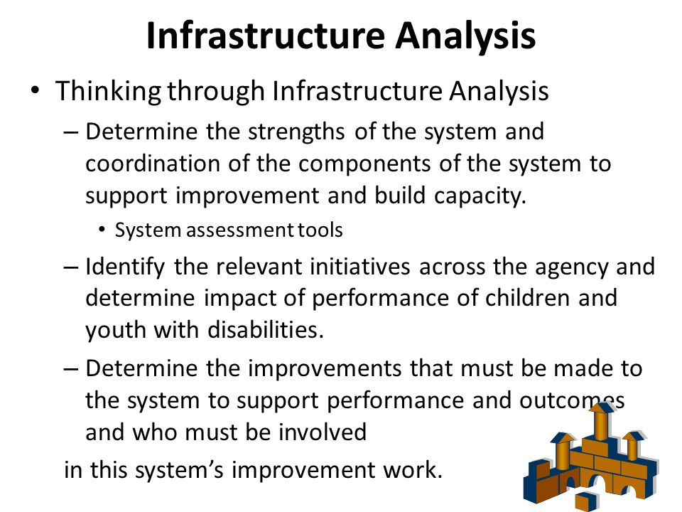 Infrastructure Analysis Thinking through Infrastructure Analysis – Determine the strengths of the system and coordination of the components of the system to support improvement and build capacity.