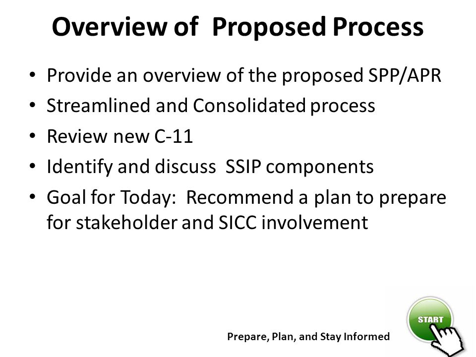 Overview of Proposed Process Provide an overview of the proposed SPP/APR Streamlined and Consolidated process Review new C-11 Identify and discuss SSI