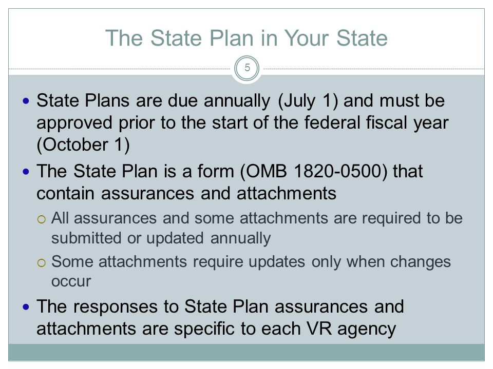 The State Plan in Your State State Plans are due annually (July 1) and must be approved prior to the start of the federal fiscal year (October 1) The State Plan is a form (OMB ) that contain assurances and attachments  All assurances and some attachments are required to be submitted or updated annually  Some attachments require updates only when changes occur The responses to State Plan assurances and attachments are specific to each VR agency 5