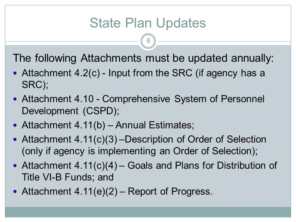 State Plan Requirements The State Plan must assure: The State agency actively consults with the SRC, in addition to the Client Assistances Program (CAP) director and tribal organizations (including native Americans or Hawaiian tribes), if applicable; and The conduct of public hearings throughout the State prior to implementing any substantive changes or adoptions of policies or procedures governing the provision of VR services (Section 101(a)(16)(A) of the Rehabilitation Act of 1973, as amended, and 34 CFR 361.10(d)).
