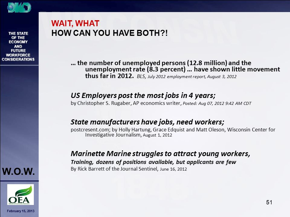 February 15, 2013 THE STATE OF THE ECONOMY AND FUTURE WORKFORCE CONSIDERATIONS W.O.W. 51 … the number of unemployed persons (12.8 million) and the une