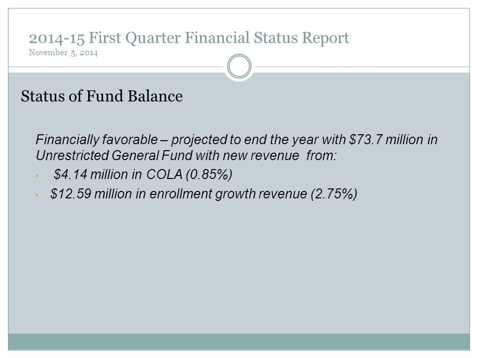 2014-15 First Quarter Financial Status Report November 5, 2014 Status of Fund Balance Financially favorable – projected to end the year with $73.7 mil