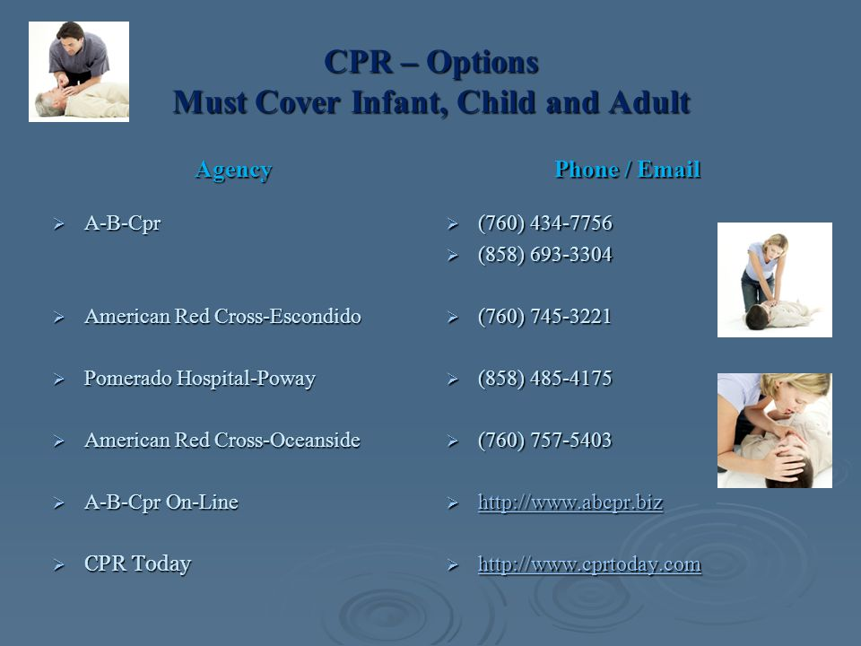 CPR – Options Must Cover Infant, Child and Adult Agency  A-B-Cpr  American Red Cross-Escondido  Pomerado Hospital-Poway  American Red Cross-Oceanside  A-B-Cpr On-Line  CPR Today Phone / Email  (760) 434-7756  (858) 693-3304  (760) 745-3221  (858) 485-4175  (760) 757-5403  http://www.abcpr.biz http://www.abcpr.biz  http://www.cprtoday.com http://www.cprtoday.com