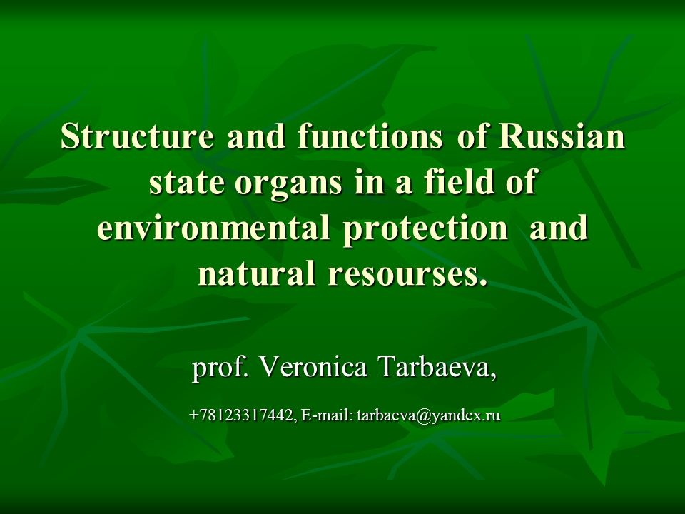 Structure and functions of Russian state organs in a field of environmental protection and natural resourses.