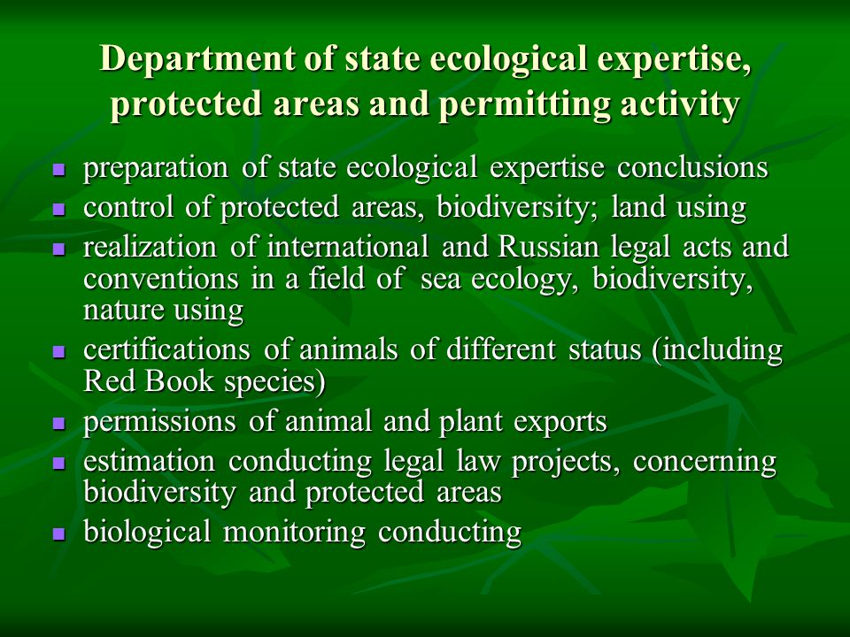 Department of state ecological expertise, protected areas and permitting activity preparation of state ecological expertise conclusions preparation of state ecological expertise conclusions control of protected areas, biodiversity; land using control of protected areas, biodiversity; land using realization of international and Russian legal acts and conventions in a field of sea ecology, biodiversity, nature using realization of international and Russian legal acts and conventions in a field of sea ecology, biodiversity, nature using certifications of animals of different status (including Red Book species) certifications of animals of different status (including Red Book species) permissions of animal and plant exports permissions of animal and plant exports estimation conducting legal law projects, concerning biodiversity and protected areas estimation conducting legal law projects, concerning biodiversity and protected areas biological monitoring conducting biological monitoring conducting