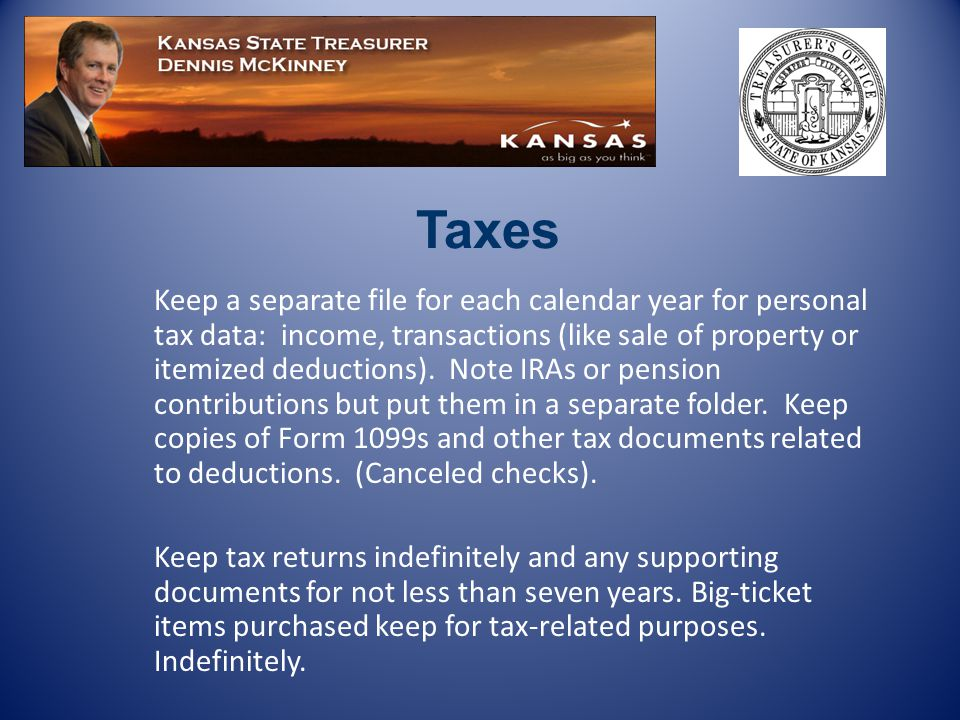 Keep a separate file for each calendar year for personal tax data: income, transactions (like sale of property or itemized deductions).