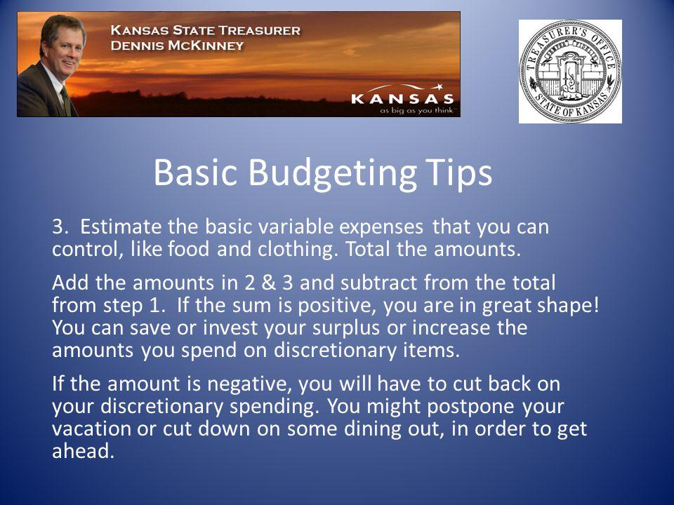 Basic Budgeting Tips 3.