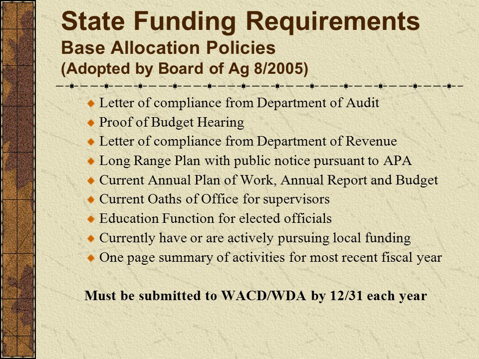 State Funding Requirements Base Allocation Policies (Adopted by Board of Ag 8/2005) Letter of compliance from Department of Audit Proof of Budget Hearing Letter of compliance from Department of Revenue Long Range Plan with public notice pursuant to APA Current Annual Plan of Work, Annual Report and Budget Current Oaths of Office for supervisors Education Function for elected officials Currently have or are actively pursuing local funding One page summary of activities for most recent fiscal year Must be submitted to WACD/WDA by 12/31 each year