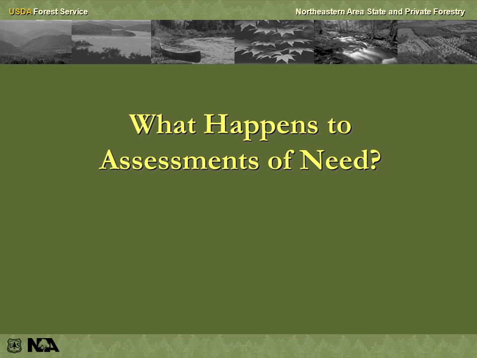 USDA Forest ServiceNortheastern Area State and Private Forestry What Happens to Assessments of Need?