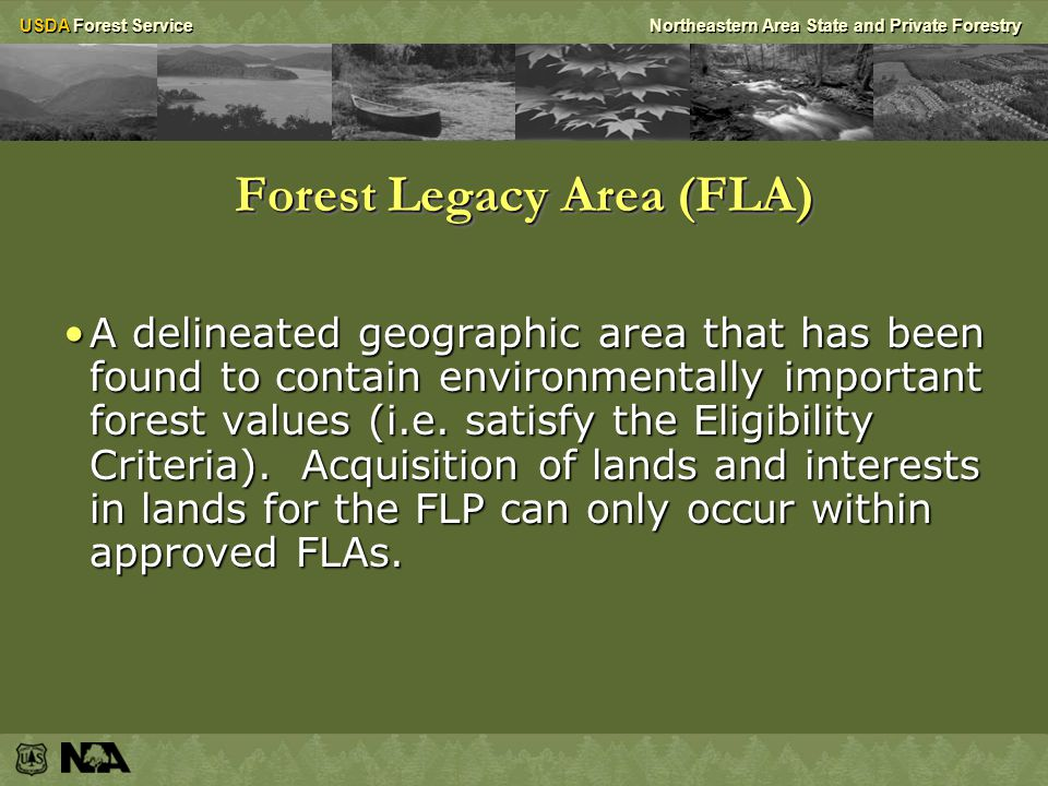 USDA Forest ServiceNortheastern Area State and Private Forestry Assessments of Need (AONs) Approvals are required for Eligibility Criteria and Forest Legacy Areas (FLAs)Approvals are required for Eligibility Criteria and Forest Legacy Areas (FLAs) – Approval should be evidenced in Assessment or Strategy document if no change; – Must be proposed to seek approval if to change.
