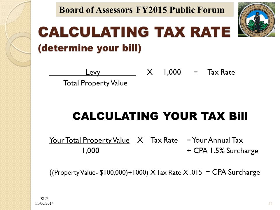 RLP 11/06/2014 Board of Assessors FY2015 Public Forum Levy X 1,000 = Tax Rate Total Property Value CALCULATING YOUR TAX Bill Your Total Property Value