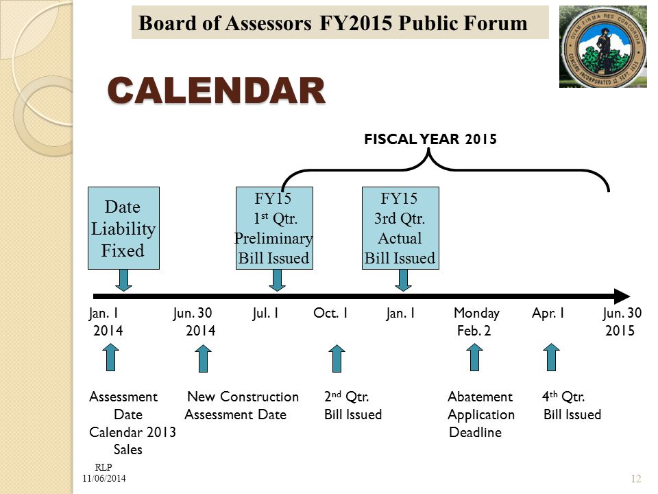 RLP 11/06/2014 Board of Assessors FY2015 Public Forum CALENDAR FISCAL YEAR 2015 Jan. 1 Jun. 30 Jul. 1 Oct. 1 Jan. 1 Monday Apr. 1 Jun. 30 2014 2014 Fe