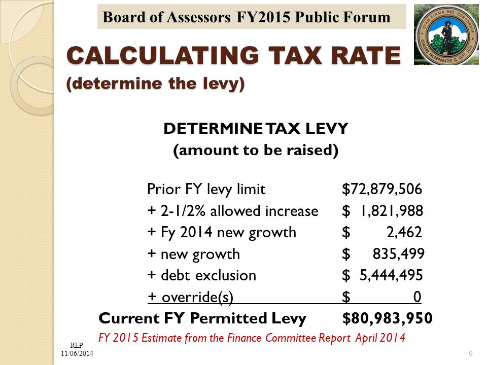 RLP 11/06/2014 Board of Assessors FY2015 Public Forum CALCULATING TAX RATE (determine the levy) DETERMINE TAX LEVY (amount to be raised) Prior FY levy limit $72,879,506 + 2-1/2% allowed increase $ 1,821,988 + Fy 2014 new growth$ 2,462 + new growth $ 835,499 + debt exclusion $ 5,444,495 + override(s)$ 0 Current FY Permitted Levy $80,983,950 FY 2015 Estimate from the Finance Committee Report April 2014 9