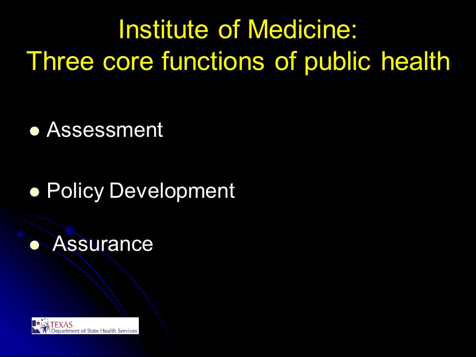 Institute of Medicine: Three core functions of public health Assessment Policy Development Assurance
