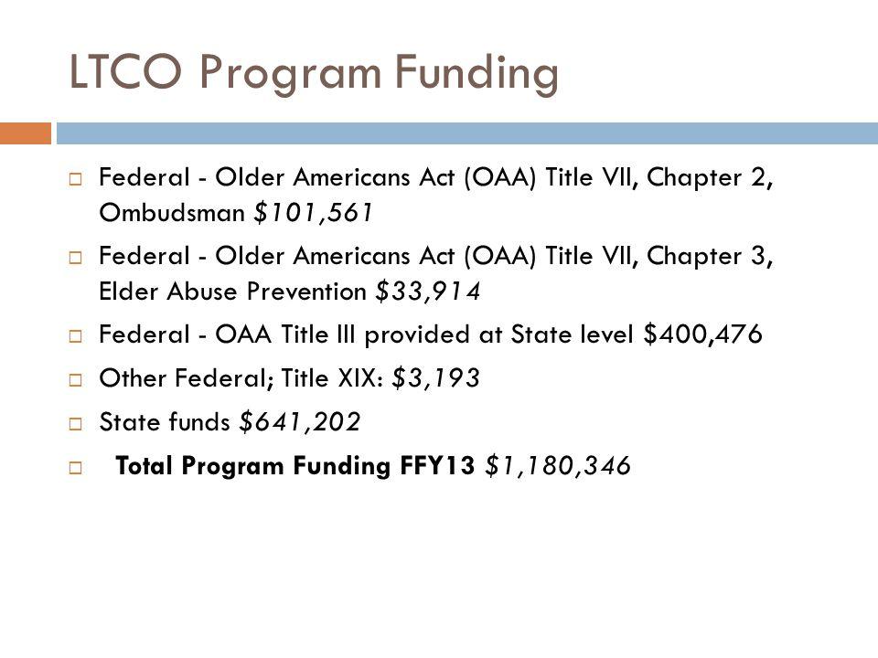 LTCO Program Funding  Federal - Older Americans Act (OAA) Title VII, Chapter 2, Ombudsman $101,561  Federal - Older Americans Act (OAA) Title VII, C