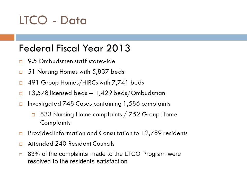 LTCO - Data Federal Fiscal Year 2013  9.5 Ombudsmen staff statewide  51 Nursing Homes with 5,837 beds  491 Group Homes/HIRCs with 7,741 beds  13,578 licensed beds = 1,429 beds/Ombudsman  Investigated 748 Cases containing 1,586 complaints  833 Nursing Home complaints / 752 Group Home Complaints  Provided Information and Consultation to 12,789 residents  Attended 240 Resident Councils  83% of the complaints made to the LTCO Program were resolved to the residents satisfaction