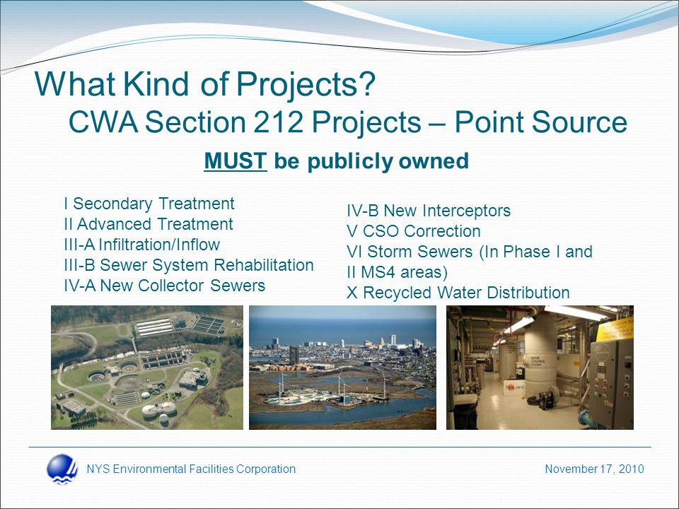NYS Environmental Facilities Corporation November 17, 2010 What Kind of Projects.