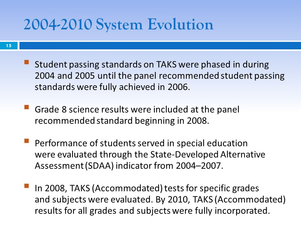 2004-2010 System Evolution  Student passing standards on TAKS were phased in during 2004 and 2005 until the panel recommended student passing standards were fully achieved in 2006.